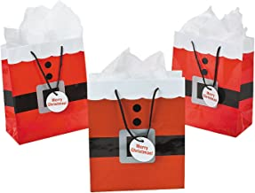 Fun Express Santa Clause Suit Medium Gift Bags - 12 Piece Pack