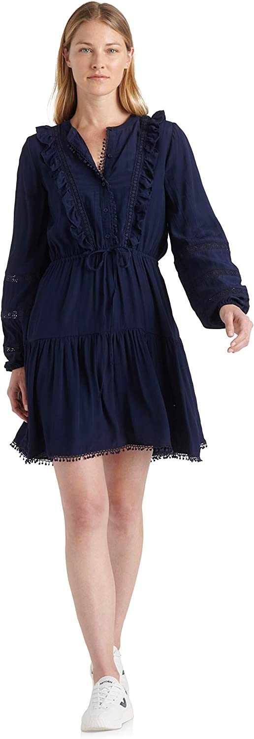 Lucky Brand Women's Parker Long Sleeve Ruffle Fit and Flare Dress