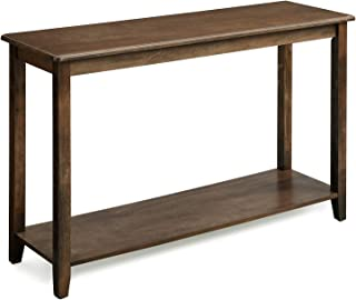 VASAGLE Large Console Table with Real Wood Legs, Simple Rustic Entry Table with Storage Shelf, Sofa Table for Entryway, Hallway, Living Room, Wood Grain Brown