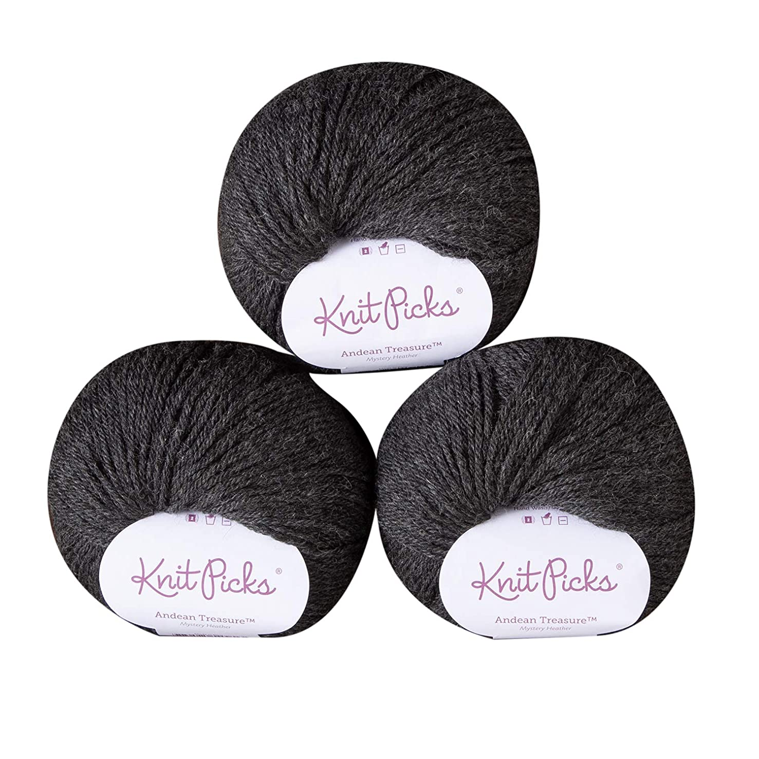 Knit Picks Andean Treasure Baby Alpaca Sport Weight Yarn - 3 Pack with Free Patterns (Mystery Heather)