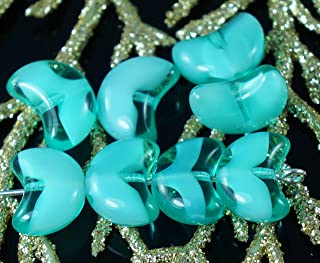 Green Turquoise White Clear Czech Glass Angel Wings Beads Spacer 12mm x 7mm 12pcs
