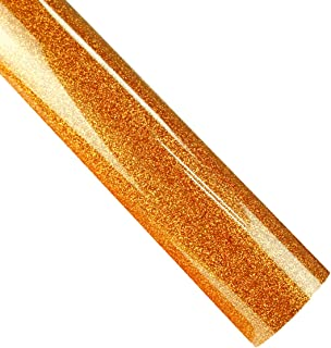 Glitter HTV Rolls 12 Inches by 10 Feet Iron On Glitter Heat Transfer Vinyl for T-Shirts (Glitter Orange)