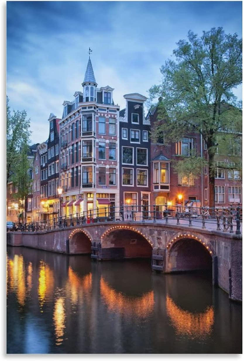 freebrand City [Alternative dealer] Poster Evening in Amsterdam Max 47% OFF Posters 1 Canvas Art