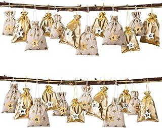 GWHOLE クリスマスギフトバッグ 袋 アドベントカレンダー 2019 巾着袋 クリスマスツリーオーナメントゴールド 木色 1から24数字シール24個セット