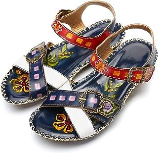 bf3416398d467e Gracosy Sandales Cuir Femmes, Chaussures de Ville Été Compensées à Talons  Compensés Plateforme Plates avec