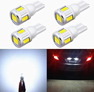 Alla Lighting 4x T10 194 168 LED Bulbs, 6500K Xenon White 175 161 2825 W5W 2821 Parking, License, Interior Map, Dome, Trun...