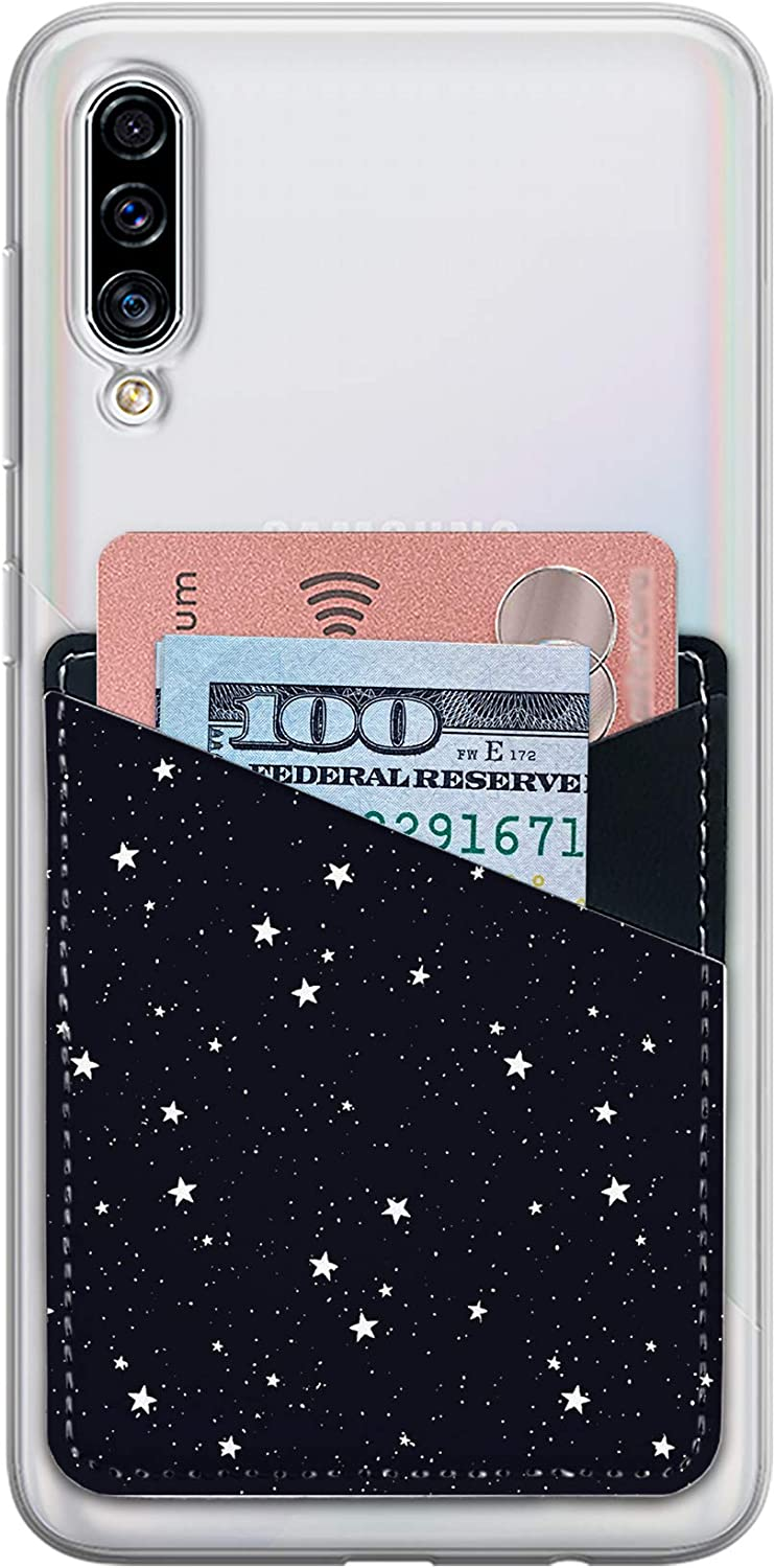 Card Holder for Back of Phone with Galaxy Stars, Cell Phone Stick on Card Wallet Sleeve, ID case Pouch Cellphone Self Adhesive Sticker 2 Slots Cards Keeper fits for iPhone Android and Smartphones.
