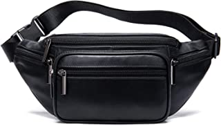 Fashion Fanny Packs for Women Luxury Lambskin Leather Waist Bag for Party Club Hands-Free Hip Purse Belt Pouch Bumbag Black