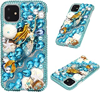 iPhone 11 Case - Mavis's Diary 3D Handmade Luxury Bling Crystal Diamonds Blue Fancy Mermaid with Starfish Shells Pearls Shiny Glitter Sparkly Rhinestone Clear Hard PC Case Cover