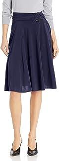 Star Vixen Women's Midi-Length Full Sweep Ity Knit Skirt with O-Ring Adjuststable Waist Detail