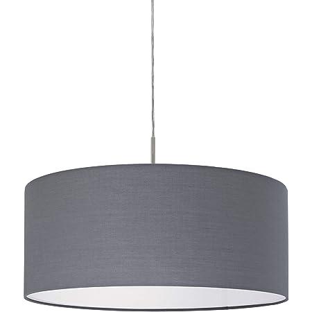 EGLO Lustre PASTERI, suspension en textile à flamme, lampe pendante en acier et tissu, couleur : nickel mat, gris, douille : E27, Ø : 53 cm