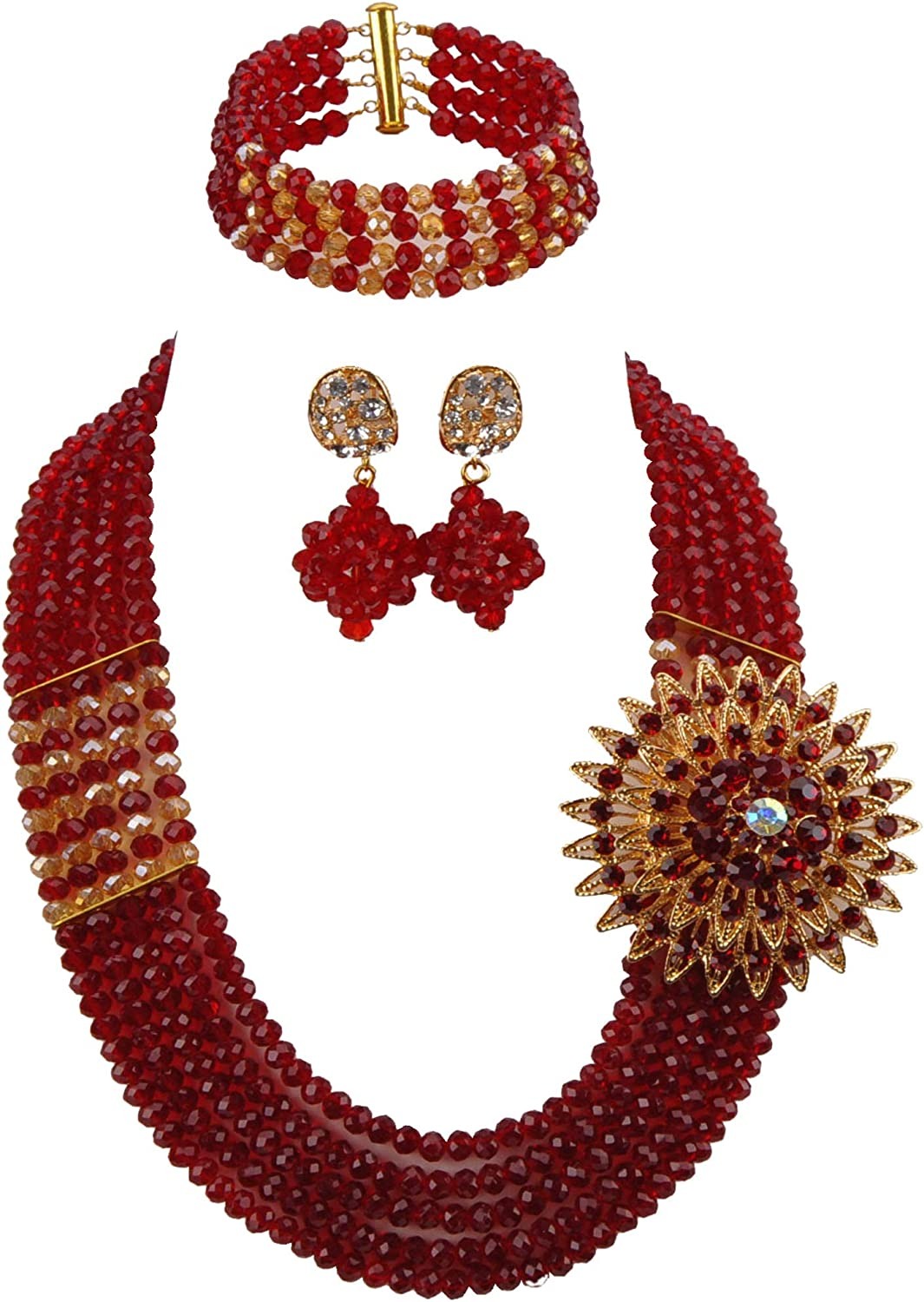 African Jewelry for Women Sets Nigerian Wedding Crystal Beads Jewelry Set