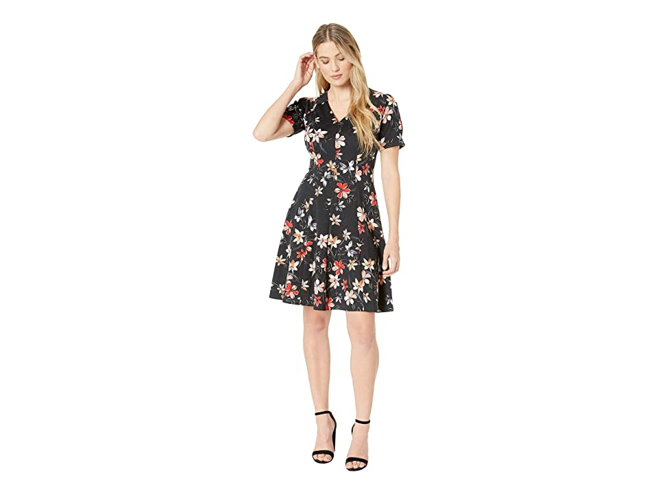 London Times Puff Sleeve Fit Flare Dress (Black/Coral) Women
