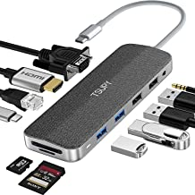 TSUPY HUB USB C 12 en 1 Diseño de Tela Tipo C Adaptador y HDMI 4K con VGA 4 Puertos USB 100W PD Carga RJ45 Ethernet Audio ...