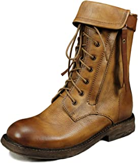 Mujeres Vintage Botas Martin Martin Genuine Cuero Hecho A Mano Toe Motorcycle Boots Soft Transpirable Casual Zapato Middle...
