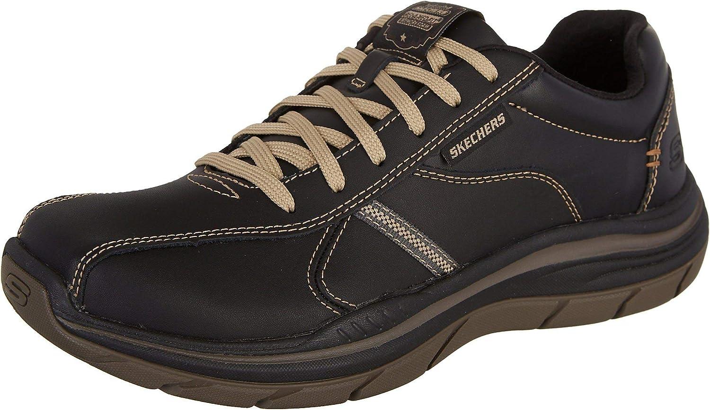 Skechers Men's Relaxed Fit Expected 2.0 - Belfair Oxford Sneaker, Black/Tan, 11.5