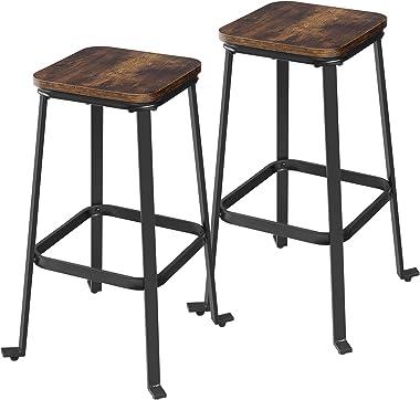VASAGLE Tabourets de bar, lot de 2 Chaises hautes, avec dossier, repose-pieds, pour îlot de cuisine, comptoir, pub, petit-déj