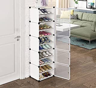 AYSIS 5-Door 10-Shelf Plastic Collapsible Shoe Stand (White, 10 Shelves, DIY(Do-It-Yourself))