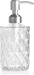 Easy-Tang 12 Oz Clear Glass Soap Dispenser - Refillable Wash Hand Liquid, Dish Detergent, Shampoo Lotion Bottle with Brushed Nickel Pump Holder, Ideal for Bathroom Countertop, Kitchen, Laundry Room