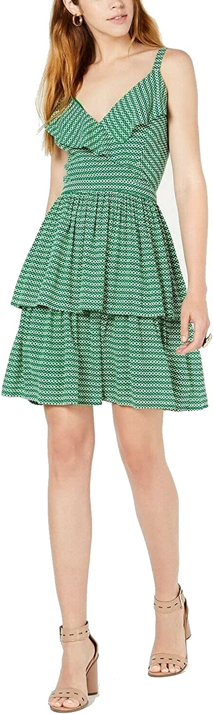 bar III Womens Printed Ruffled Casual Dress