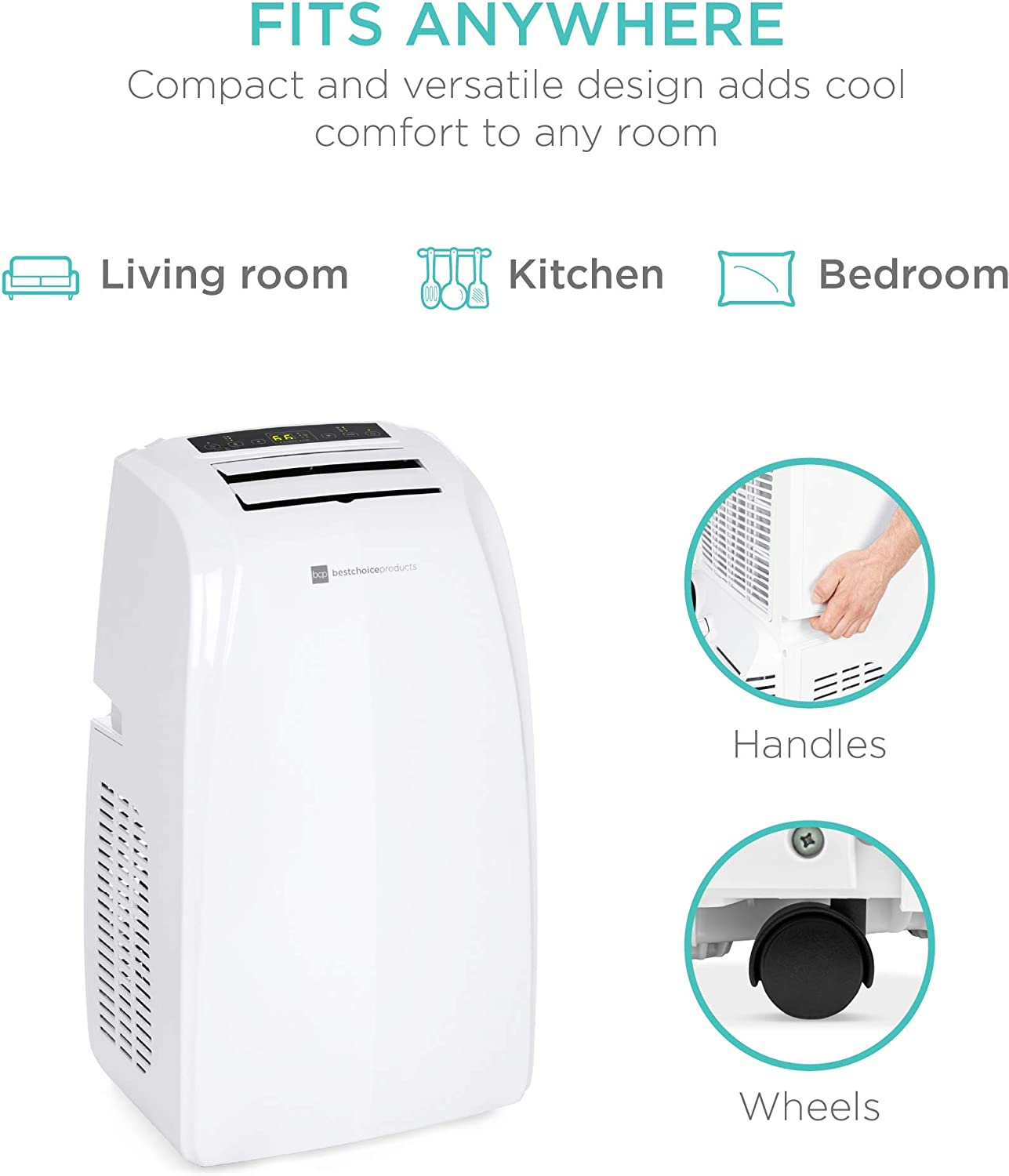 Buy Best Choice Products 14 000 Btu 3 In 1 Portable Air Conditioner Cooling Unit For Rooms Up To 650 Sq Ft Home Bedroom Kitchen W 4 Casters Remote Control Window Vent Kit Led Display Online