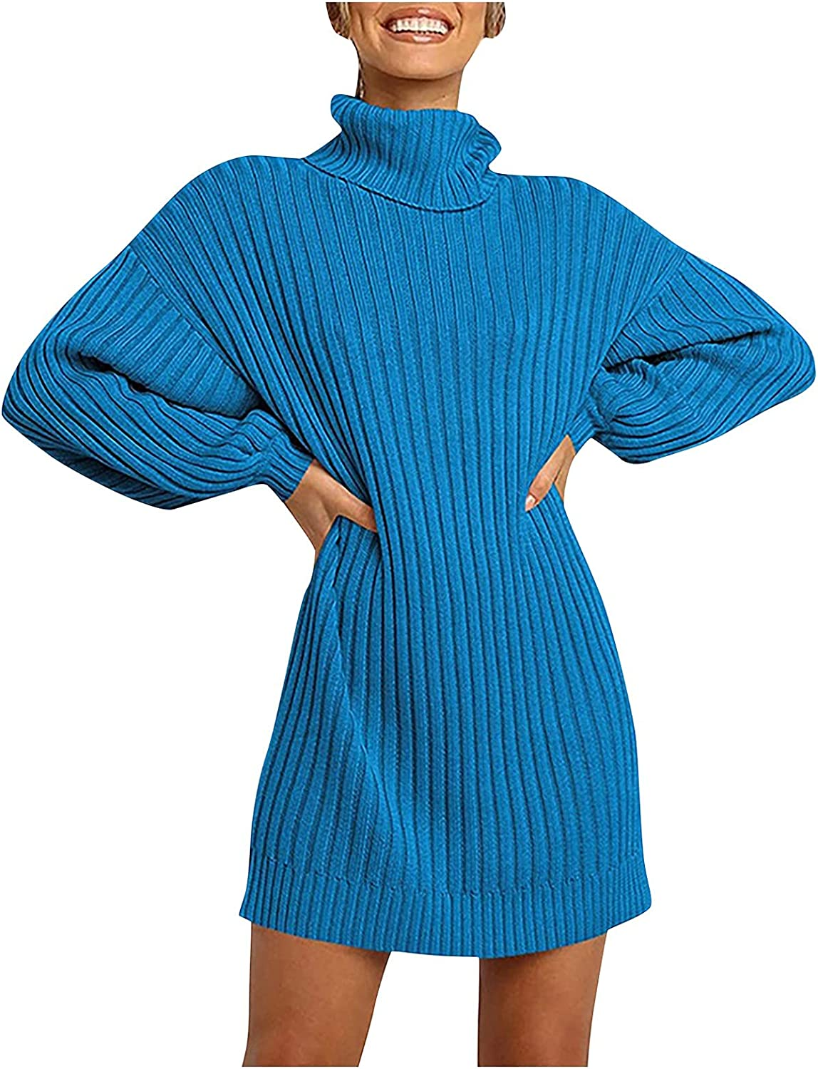 Casual Dresses for Women Turtleneck Solid Color Sweater Fashion Solid Color Shirt