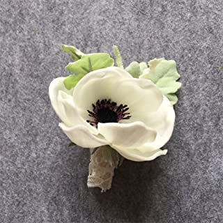 Artificial White PU Anemone Flower DIY Groom Boutonniere Man Suit Corsage Wedding Flowers Decoration(4 Pack)