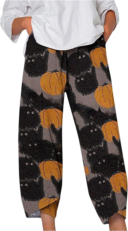 Women Halloween Pumpkin Cropped Harem Capri Pants Cute Ghost Palazzo Lounge Pants High Waist Comfy Pajama Bottoms