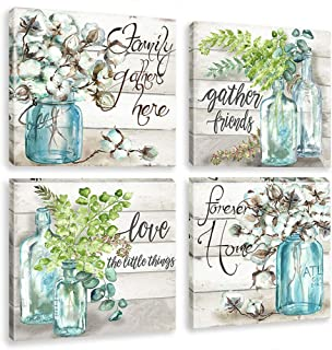 Green Plant Canvas Wall Art Prints Watercolor Flower Painting Mason Jar Pictures Pastoral Family Love Artwork for Kitchen Bathroom Decoration Framed