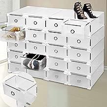 SURPZON 9cajones de plástico Caja de Almacenamiento para Zapatos Organizador apilable Transparente Transparente Plegable tamaño Grande Armario Armario para Las Mujeres y los Hombres–Claro