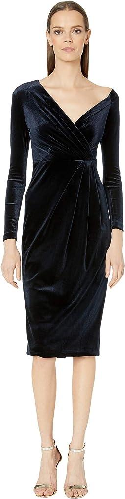 Long Sleeved Off-the-Shoulder Pencil Dress