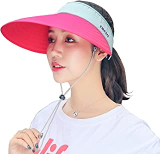 2261eab20e303 Sun Hat Wide Brim Visor for Women Summer UV Protection Foldable Travle Beach  Cap
