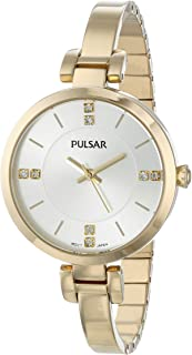 Pulsar Women's PH8034 Crystal-Accented Gold-Tone Watch with Link Bracelet