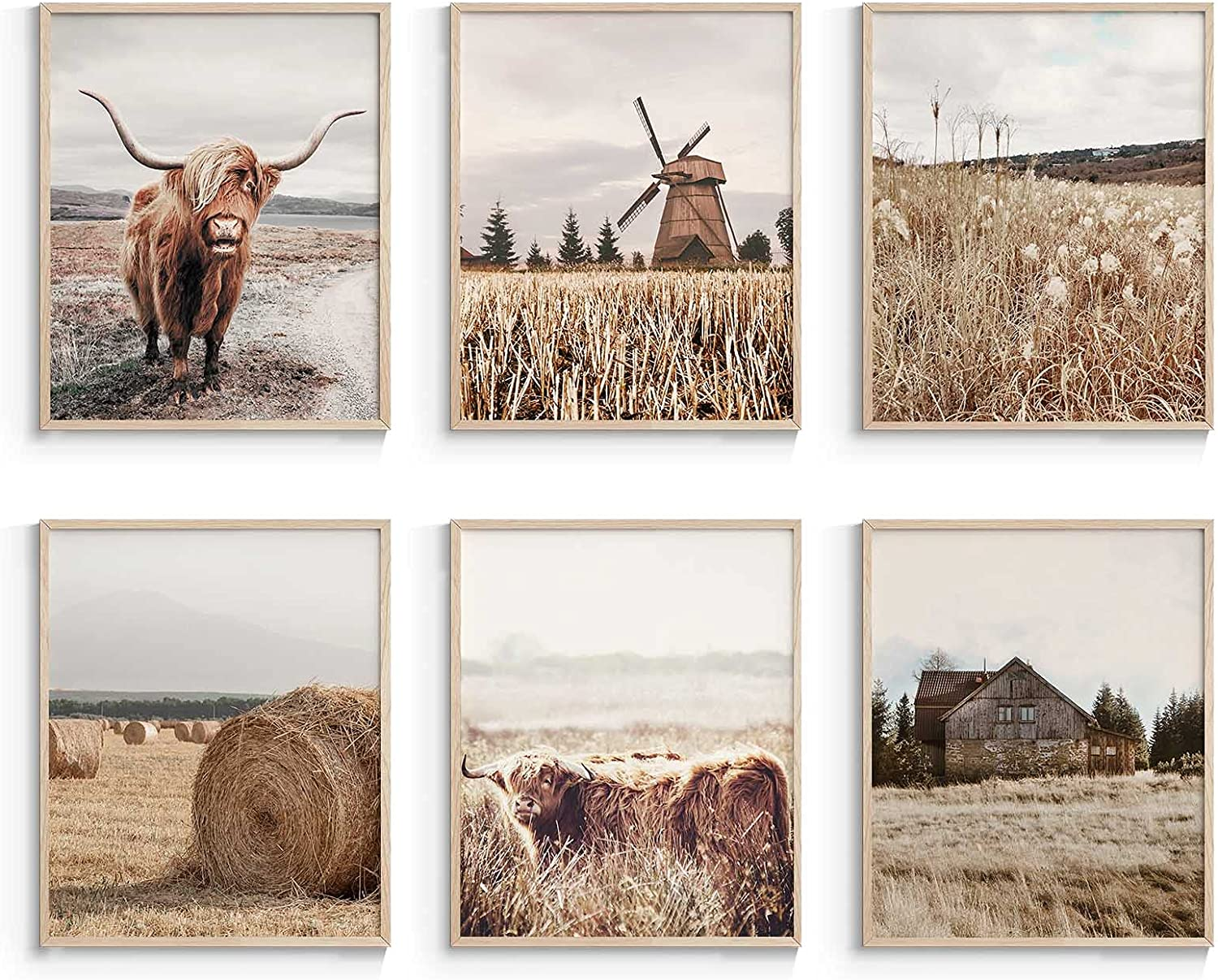 InSimSea Highland Cow Wall Art Prints, Farmhouse Wall Art Posters, Western Decors for Bedroom, Set of 6, 8x10 Inch, UNFRAMED