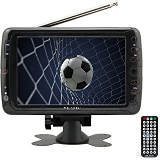 """Milanix MX7 7"""" Portable Widescreen LCD TV with Detachable Antennas, USB/SD Card Slot, Built in Digital Tuner, and AV Inputs"""