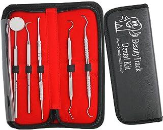 BeautyTrack 5 stuks tandverzorgingsset met instructieboekje, topklasse roestvrij stalen tandplak en tandsteen verwijderaar...