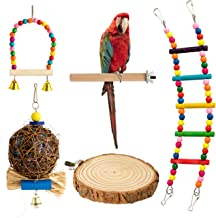 MAIYUAN 5 Pcs Pet Bird Parrot Chewing Toys with Hanging Bells,Wooden Ladder Hammock, Bird Swing Toys for Small Parrots, Parakeets Cockatiels, Conures, Macaws, Lovebirds,Finches