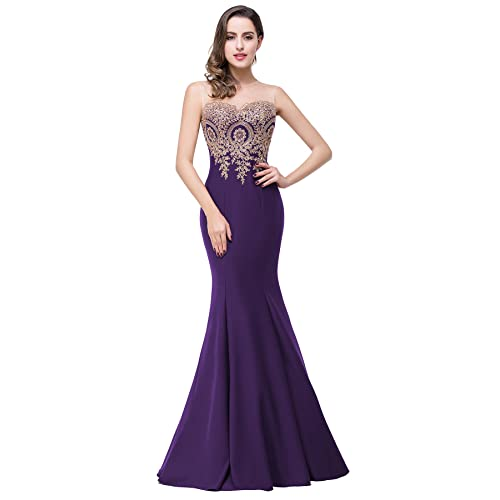 Dark Purple Prom Dress Long Amazon Com