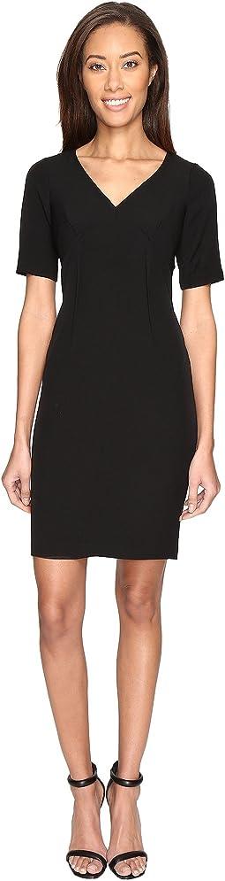 Exposed Dart Stretch Crepe Dress