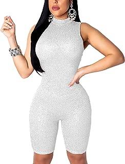 Women's Sexy Sequin Sleeveless Jumpsuits Bodycon Clubwear Romper