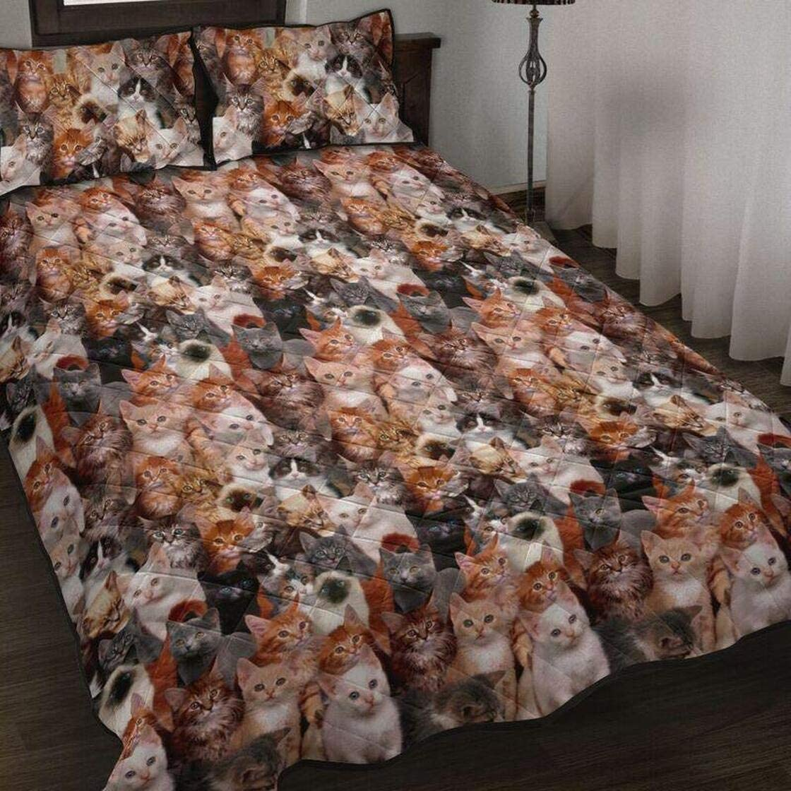 Personalized Cat Quilt Bedding Set King Throw Bi Queen Twin Rare Topics on TV Size