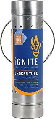"""Ignite Chip Tube Smoker 9"""" - Transform Your Home Grill Into A Smoker - Works with Pellets and Wood Chips - Sturdy Reliable Design"""