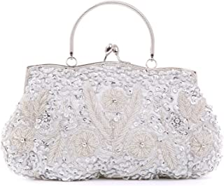 BAIGIO Cartera de Mano Fiesta, Clutch Mujer Bolso de Noche Perlas Bolso de Embrague para Ceremonia Boda Novia (Plata)