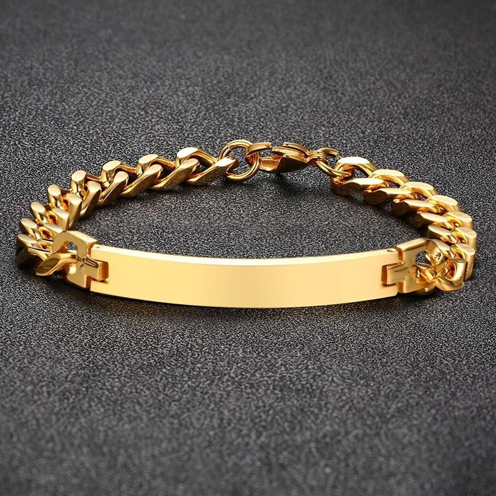 Mens Punk Gold Rose Stainless ID Bracelet Homme Finally popular brand Elegant Chain Steel
