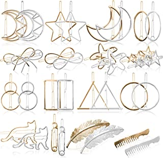 32 pcs Hair Clips Gold Silver Geometric Clips Dainty Feather Moon Triangle Circle Hairpin Star Cat Hair Barrettes for Girl Women