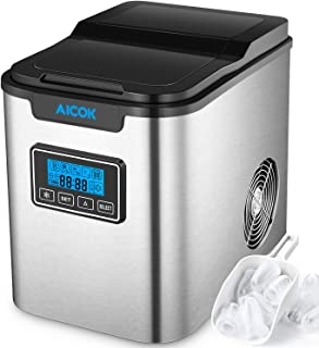 Upgraded Aicok Portable Digital Ice Maker Machine | Stainless Steel Stain Resistant| Countertop Ice Maker| Ice Cubes Ready in 6 Minutes | LED Display|Timer Program|Easy-to-Touch Buttons-Silver