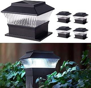 Solar Post Light Outdoor Waterproof,Deck Fence Cap Light Solar,LED White Light for 4x4 or 6x6 Wooden Post Terrace ,4Pack...
