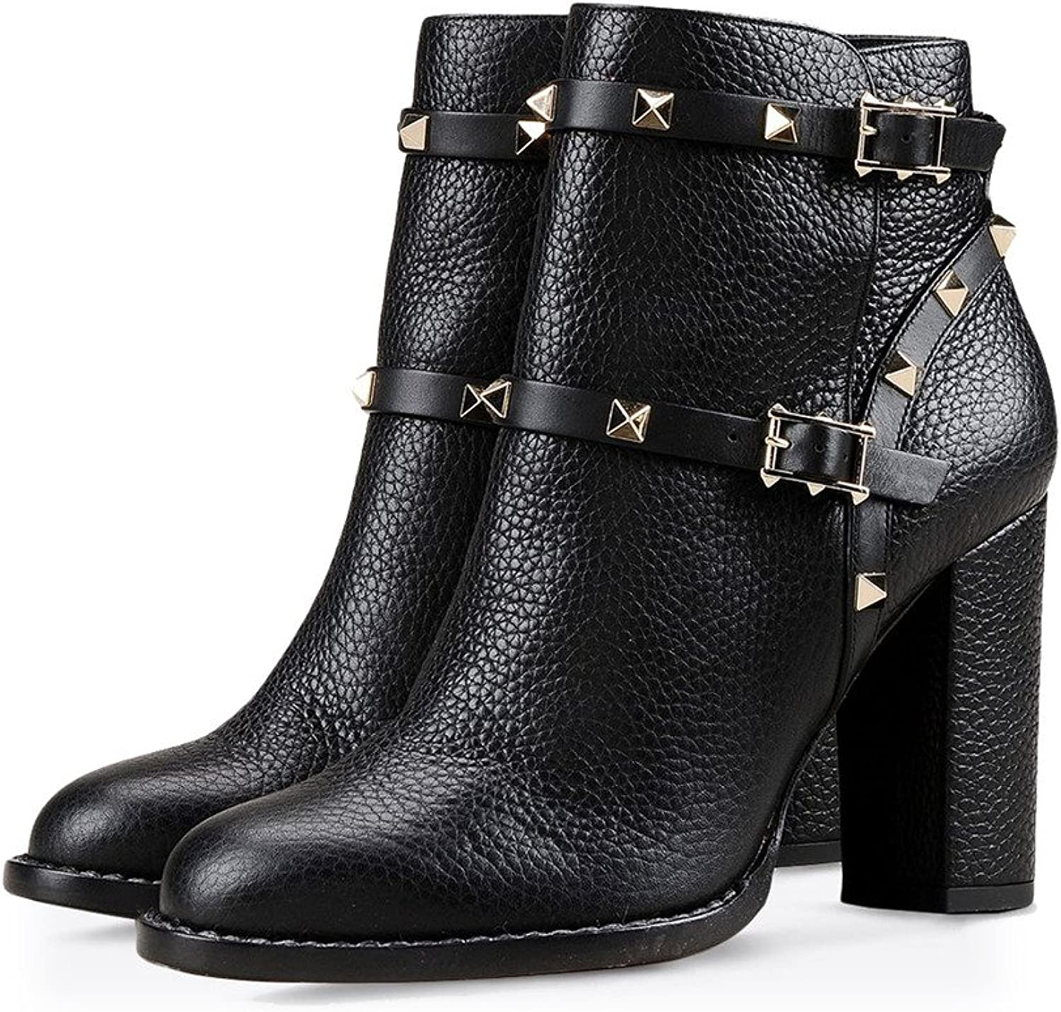 Amy Q Women's Rivets Round Toe Buckle Strap Square Heel Ankle Winter Boots For Casual Slip On shoes