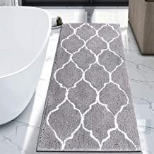 "HEBE Large Bath Rug Runner for Bathroom 55""x27.5"" Non Slip Extra Long Microfiber Bath Floor Mats Machine Washable Area Rug..."