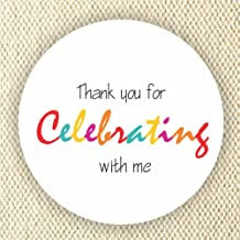 Colorful Favor Stickers - Baby Shower Stickers - Rainbow Colors stickers- Thank you for Celebrating with me - Set of 40 st...